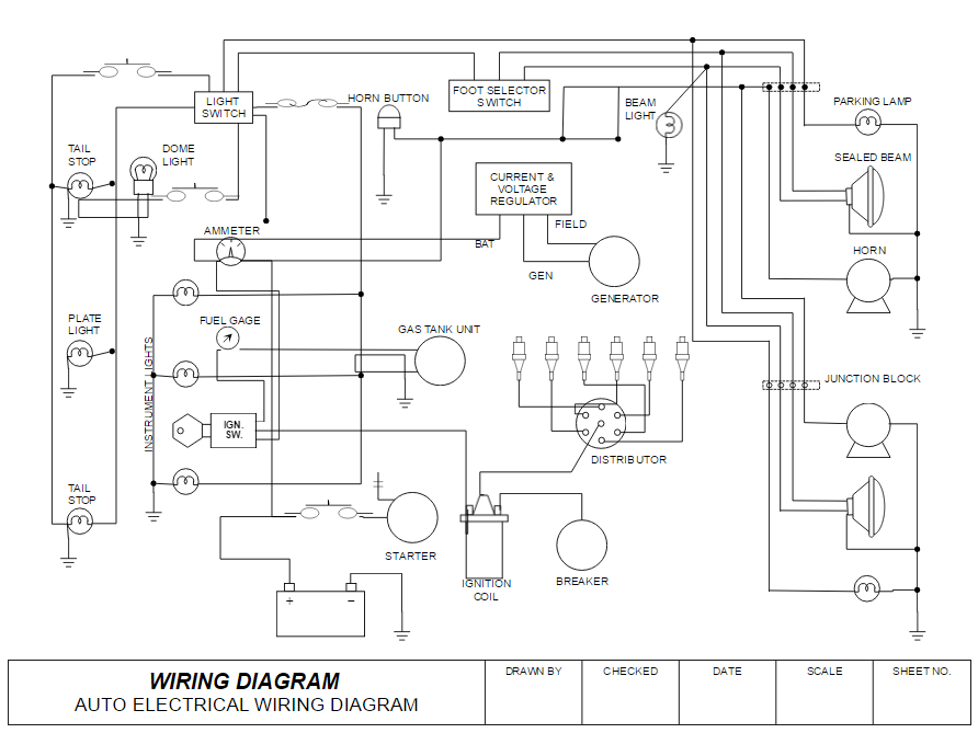 how to draw electrical diagrams and wiring diagrams rh smartdraw com wiring diagram for power windows automotive power window wiring diagram