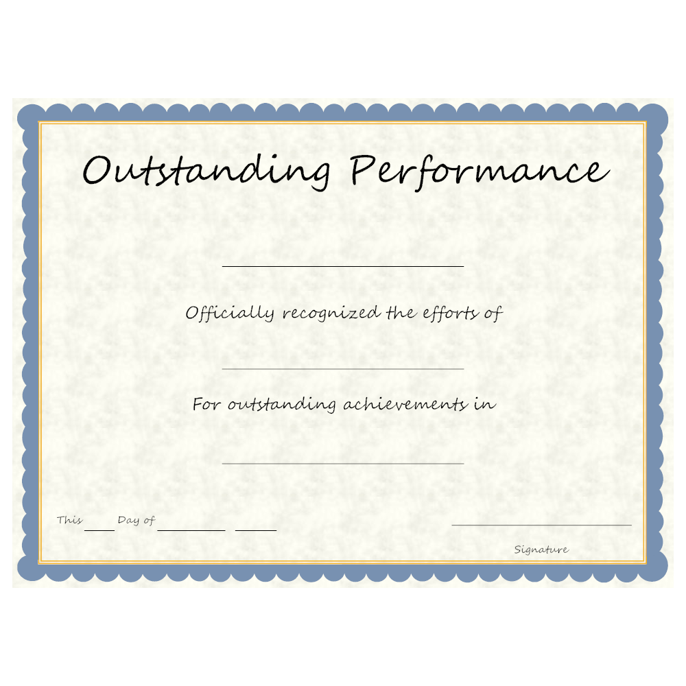 Certificate Of Outstanding Performance With A Formal Blue Frame Design
