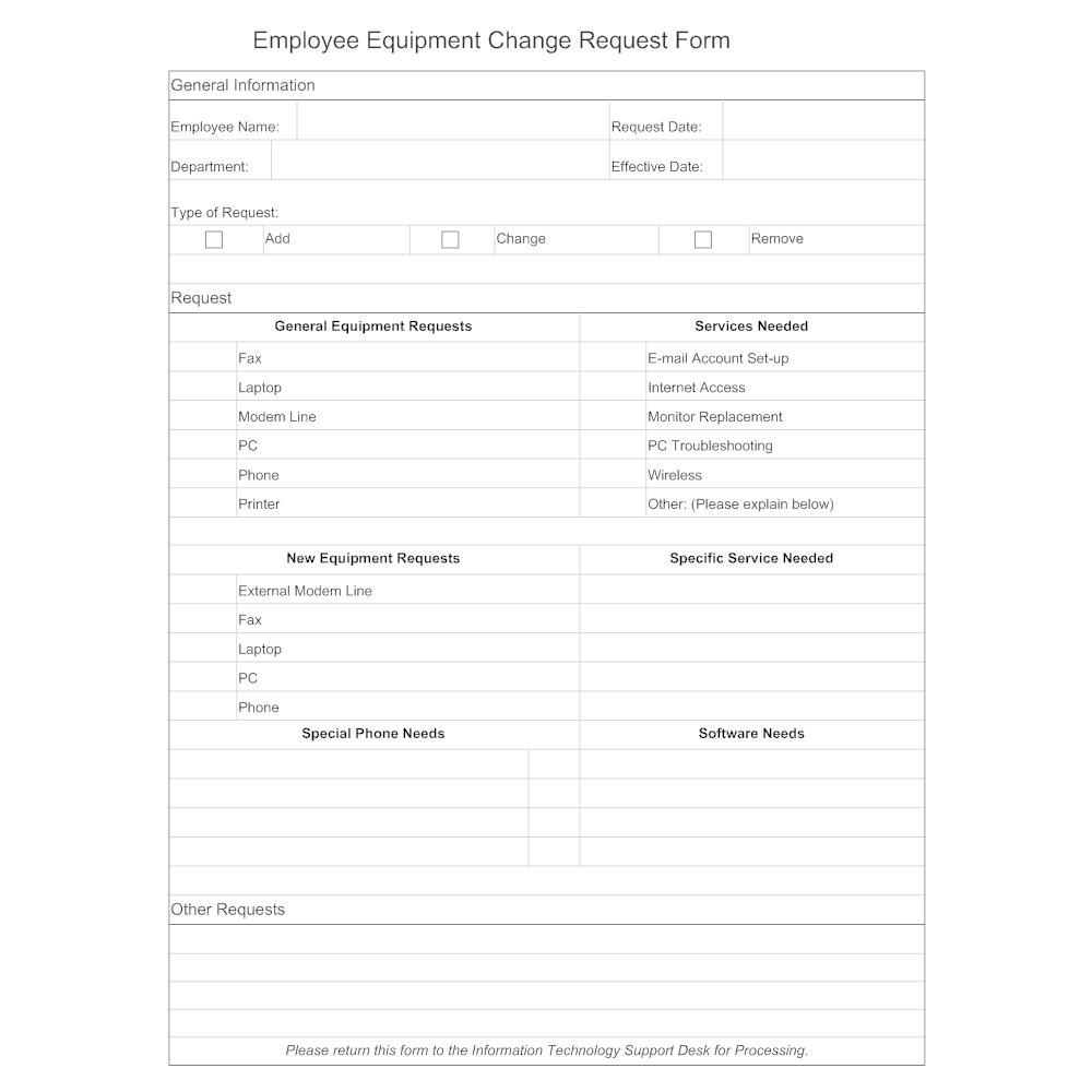 employee equipment change request
