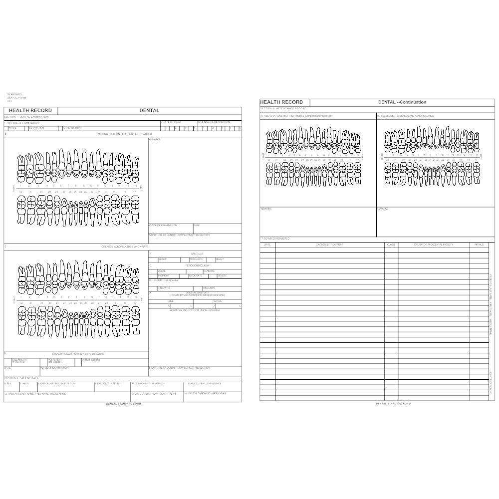 Dental health record form for Smartdraw certificate templates