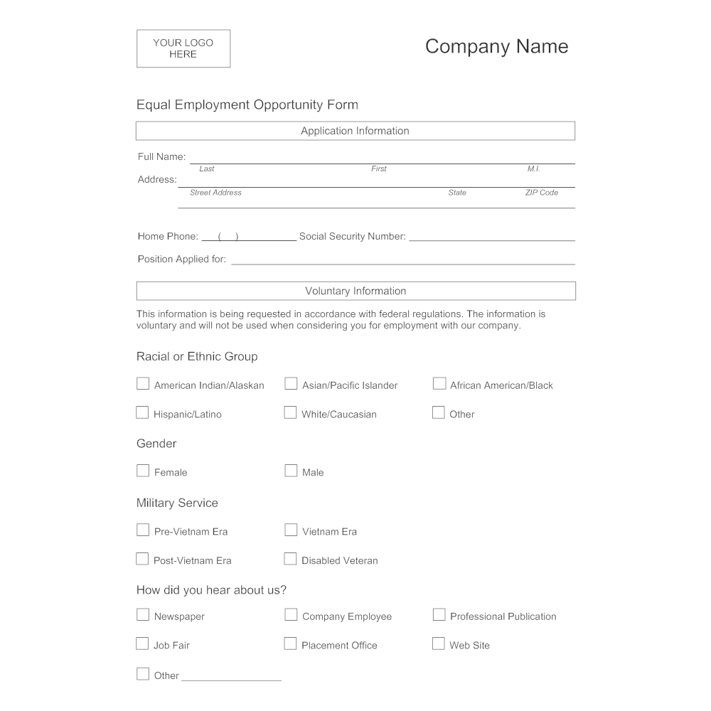 Example Image: Equal Employment Opportunity Form