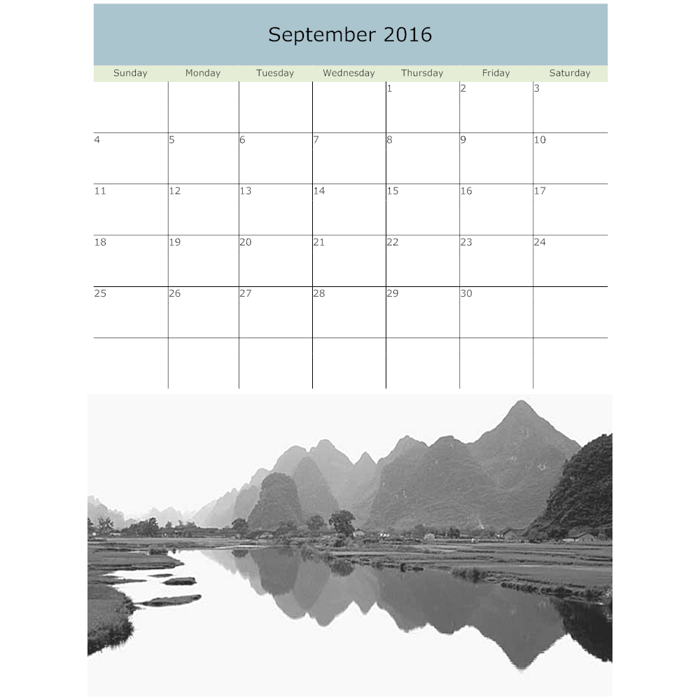 Example Image: Mountain Calendar