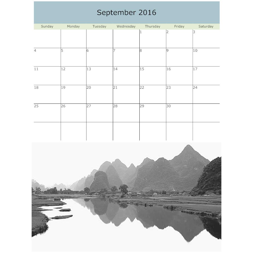 Example Image: Mountain Calendar