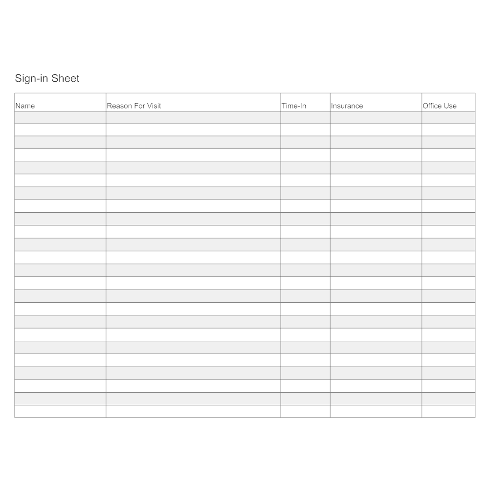 Example Image: Sign-In Sheet Form