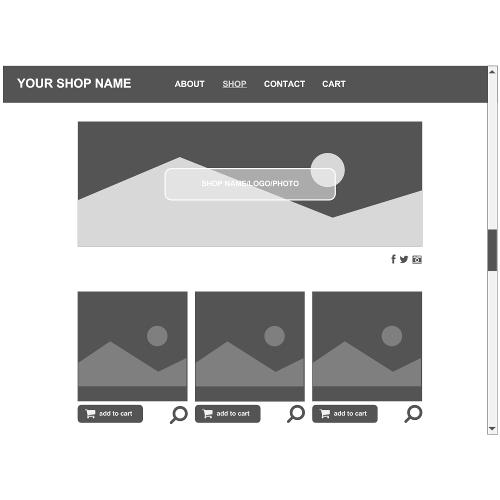 Example Image: Commerce Website Wireframe