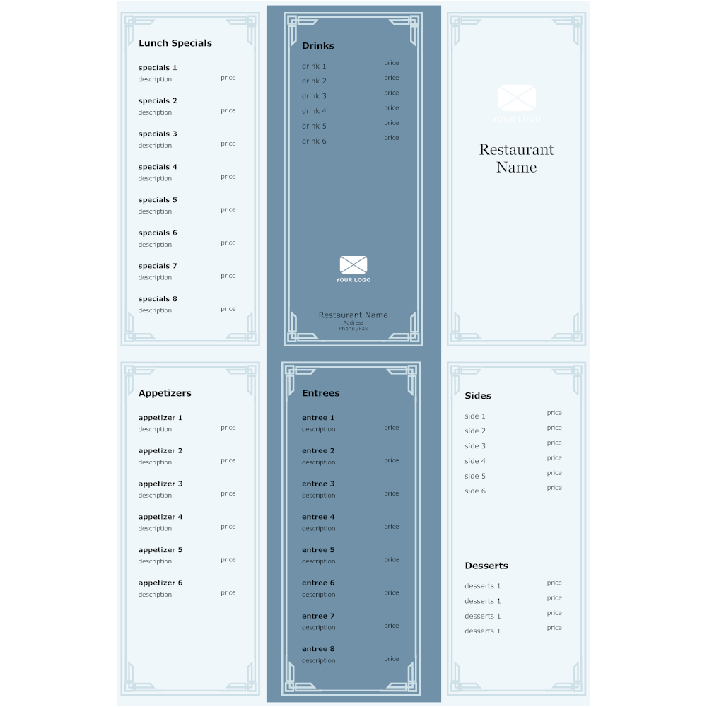Example Image: Take Out Menu Example