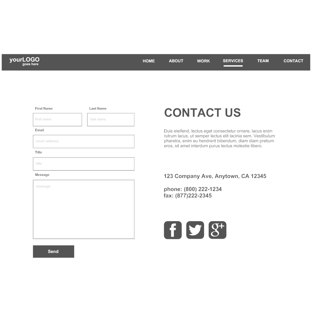 Example Image: Contact Page Wireframe