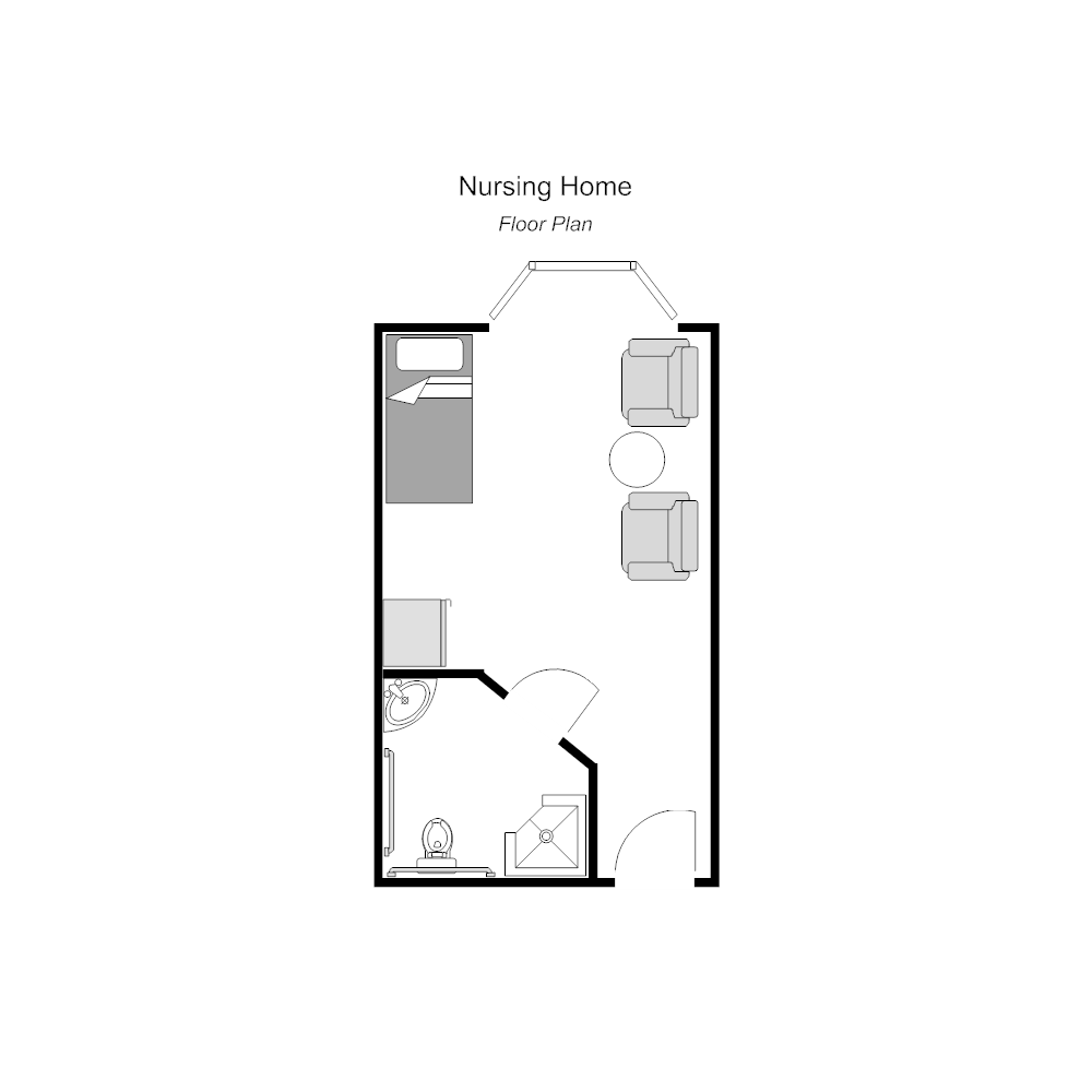 Nursing home room floor plan for Retirement home design plans