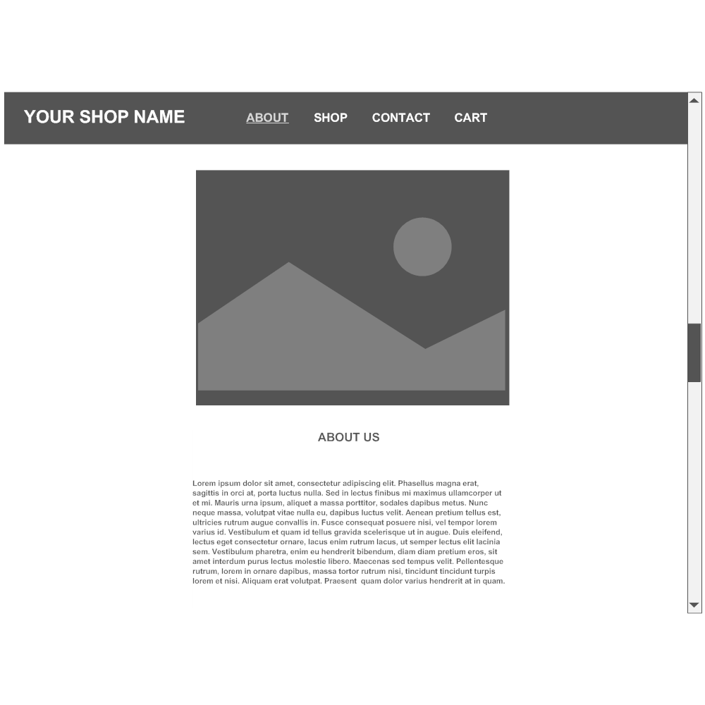 Example Image: About Page Wireframe