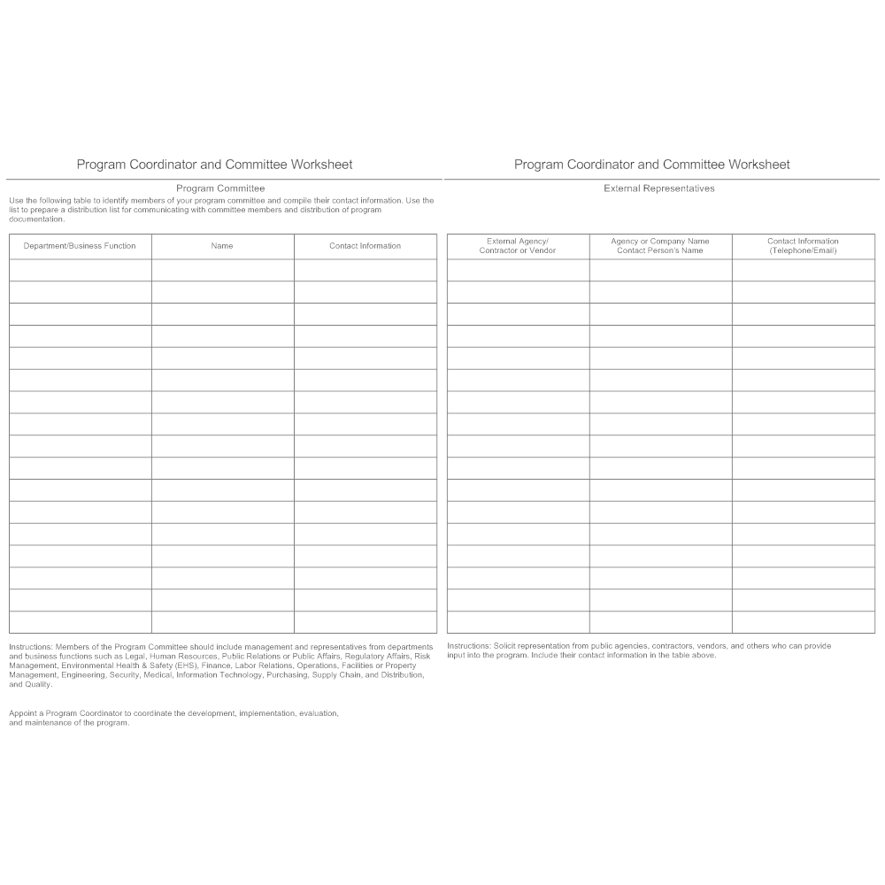 Example Image: Program Coordinator and Committee Worksheet