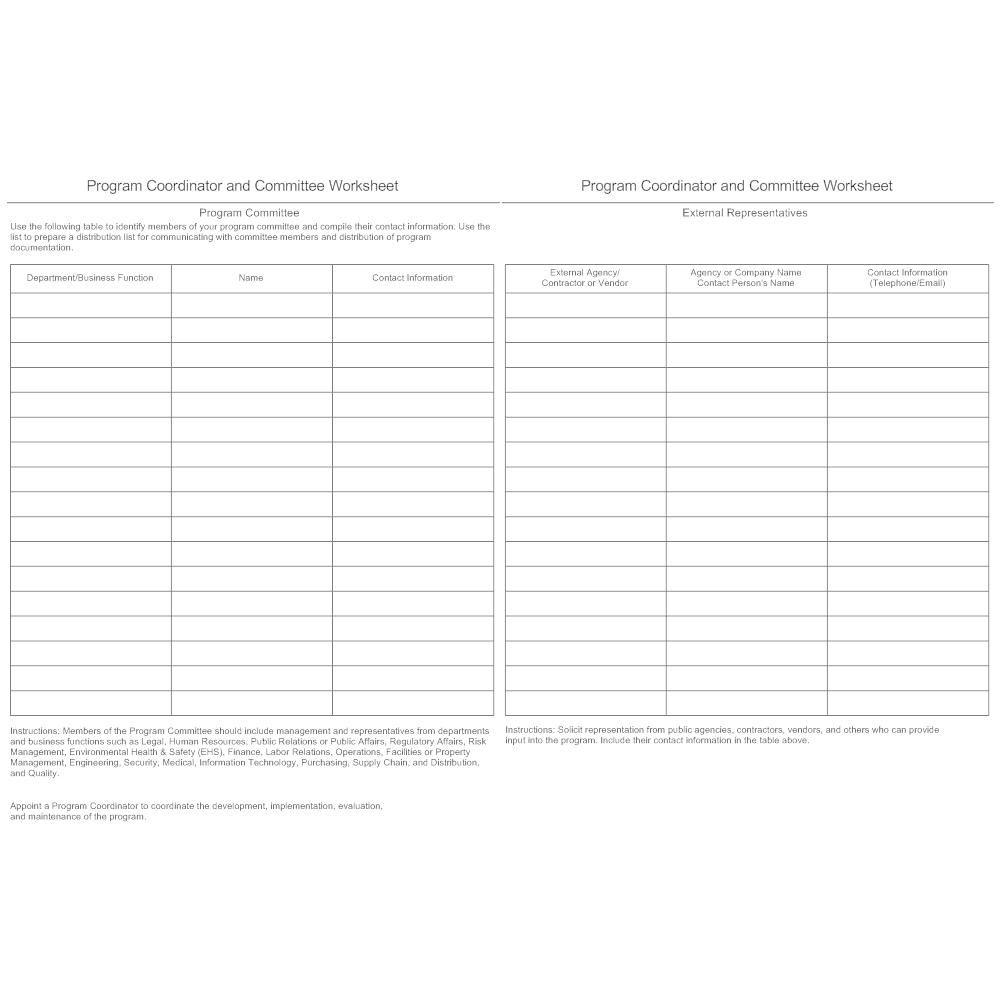 Example Image: Program Coordinator and Committee Worksheet