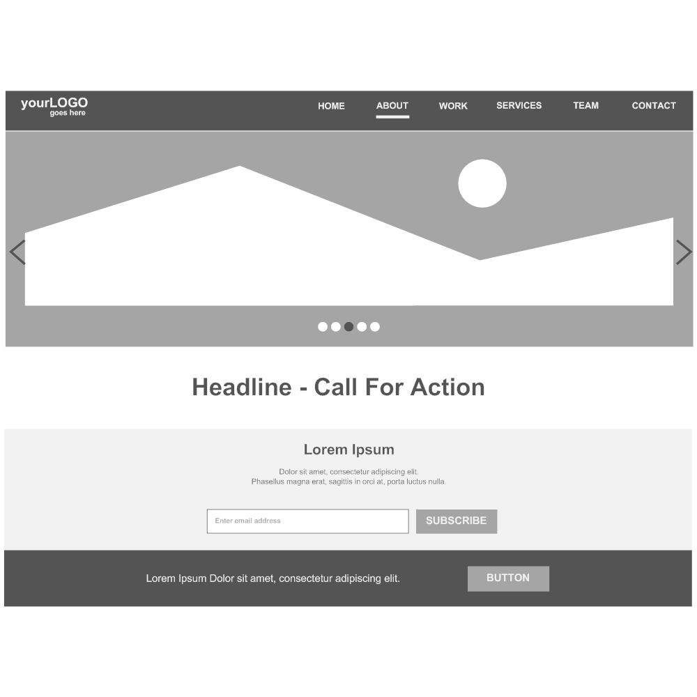 Example Image: Home Page Hero and Navigation Wireframe