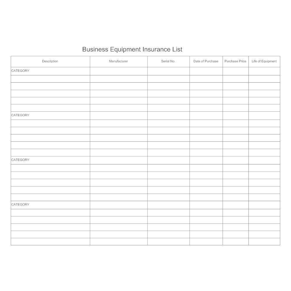 Example Image: Equipment Insurance List Form