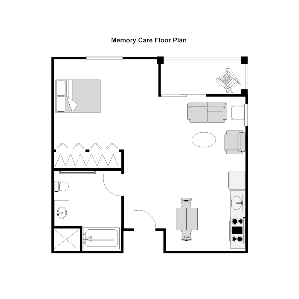 Nursing home unit floor plan for Floor plan examples
