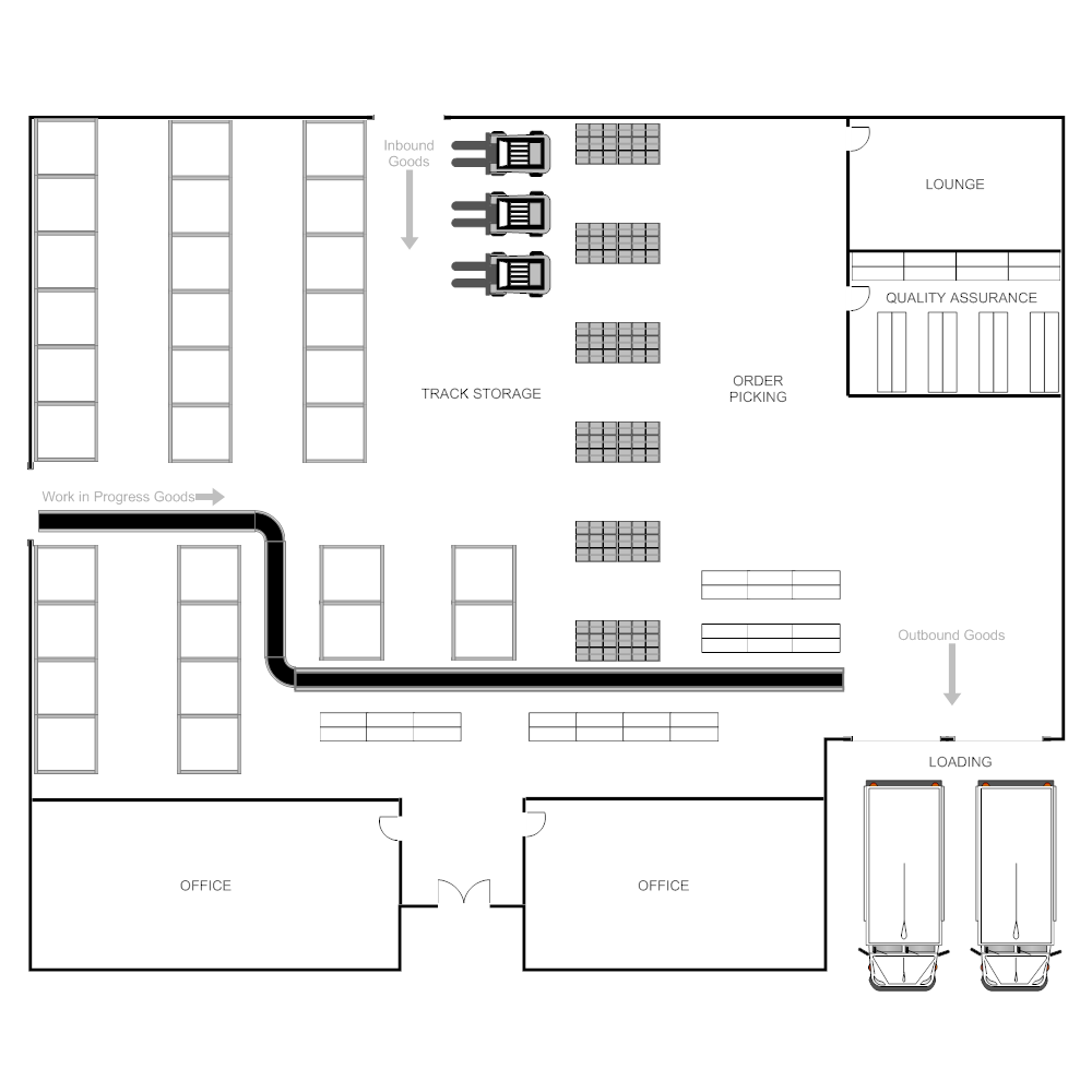 Restaurant floor plans templates - Warehouse Plan
