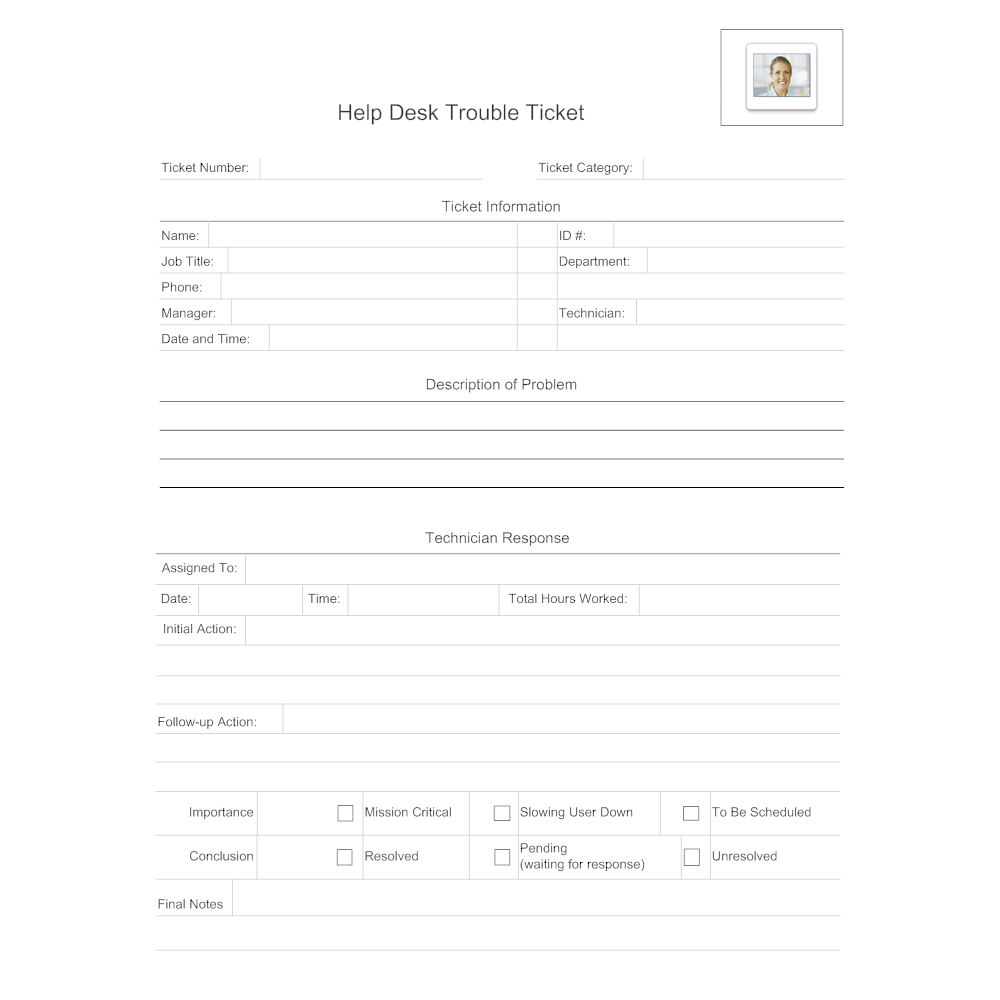 Example Image: Help Desk Trouble Ticket