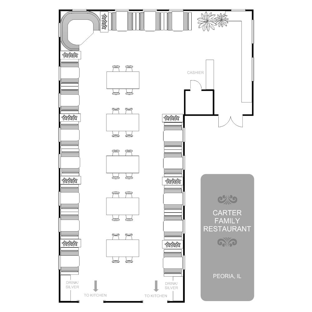 Restaurant floor plan for How to draw a restaurant floor plan