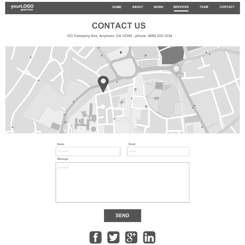 Example Image: Contact Web Page Wireframe