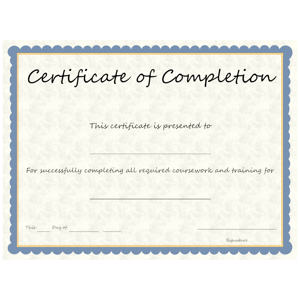 Example Image: Certificate of Completion