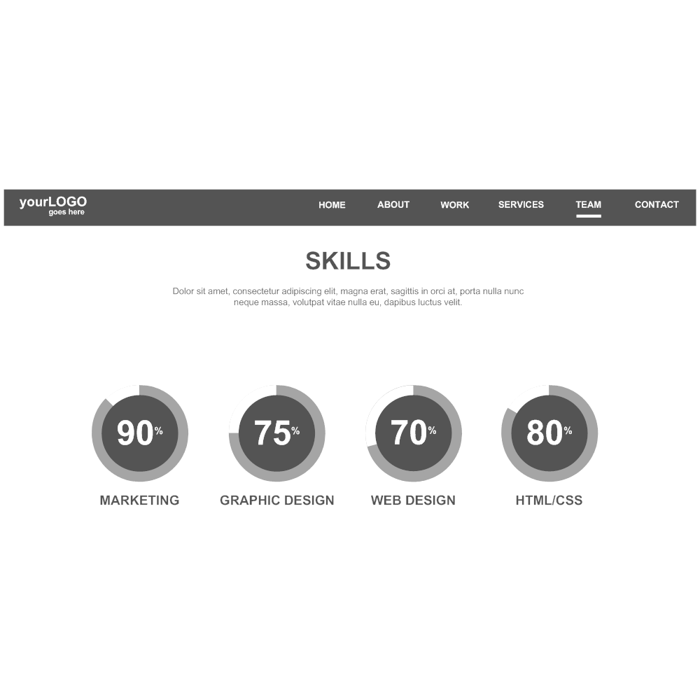 Example Image: Personal Portfolio Site: Skills Wireframe