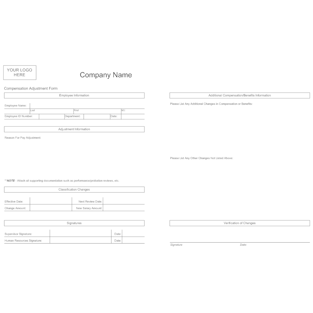 Example Image: Compensation Adjustment Form