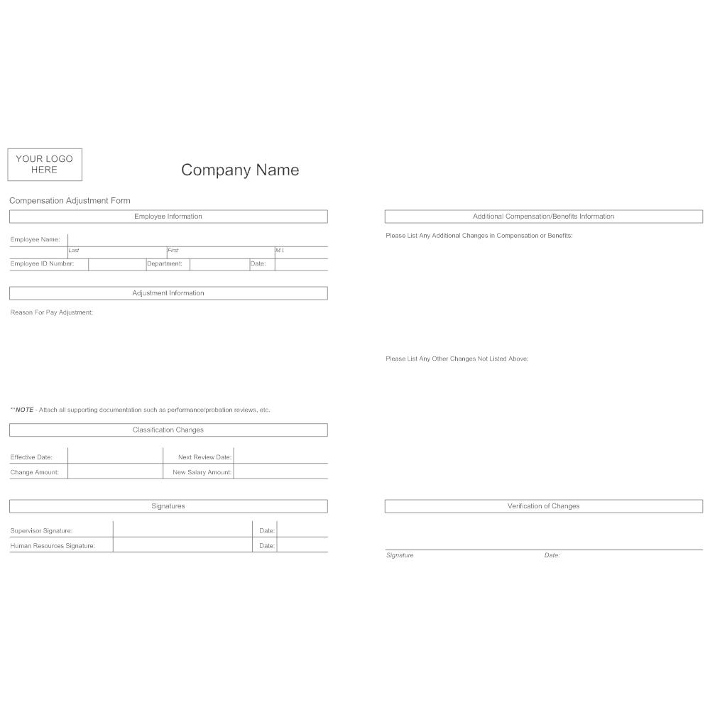 Example Image: Compensation Adjustment Form