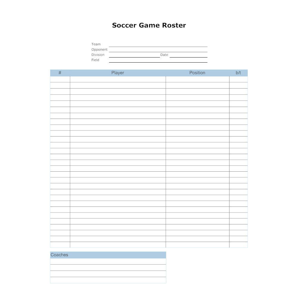 Soccer game roster template for Soccer team positions template