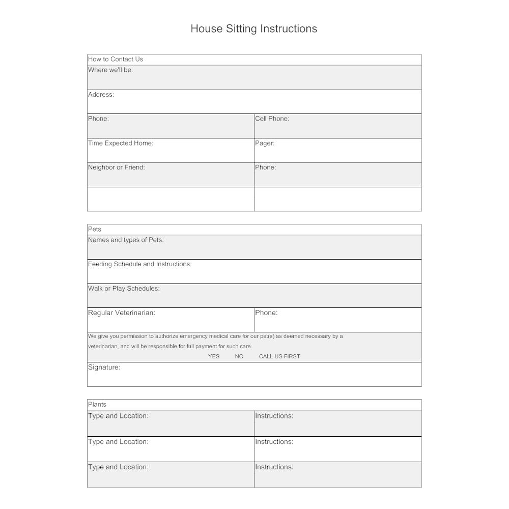 Example Image: House Sitting Instructions