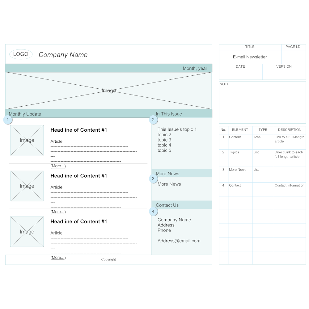 Example Image: E-mail Newsletter Wireframe