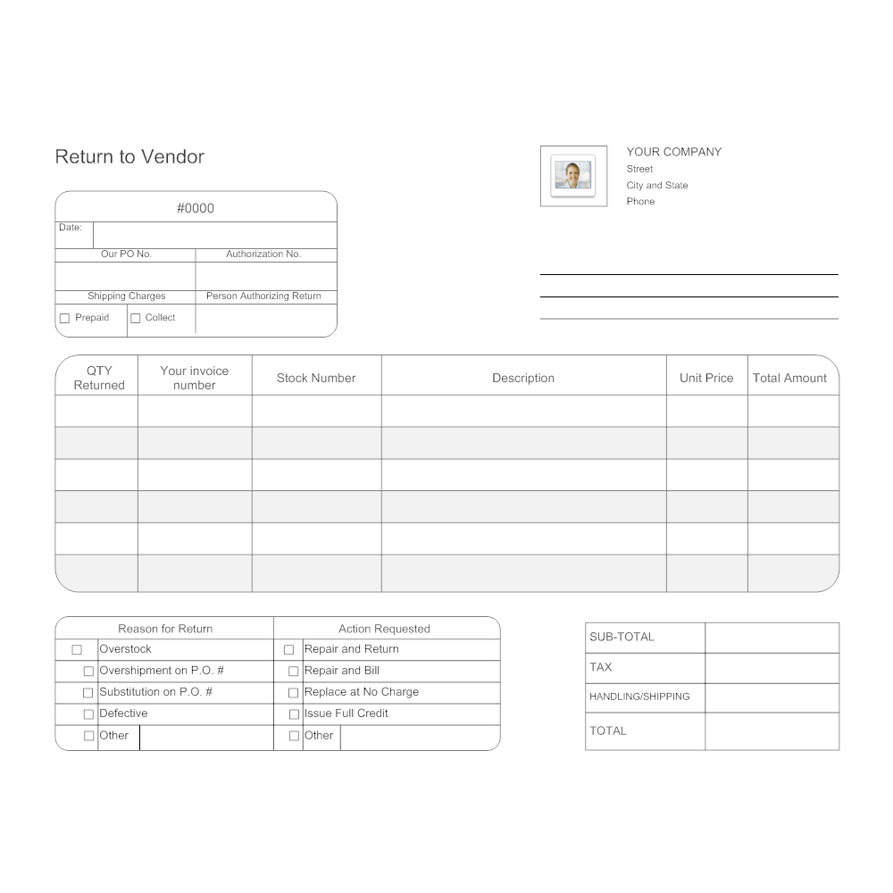 Return to vendor form for Return invoice template