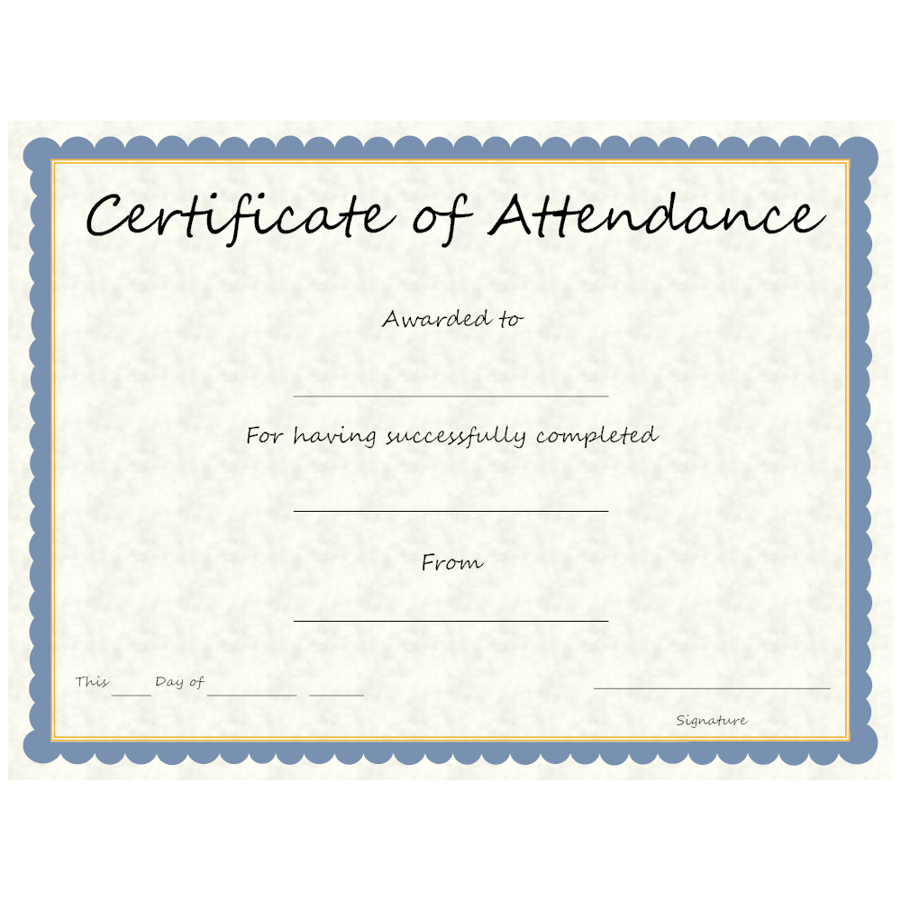 attendance certificate example templates edit smartdraw