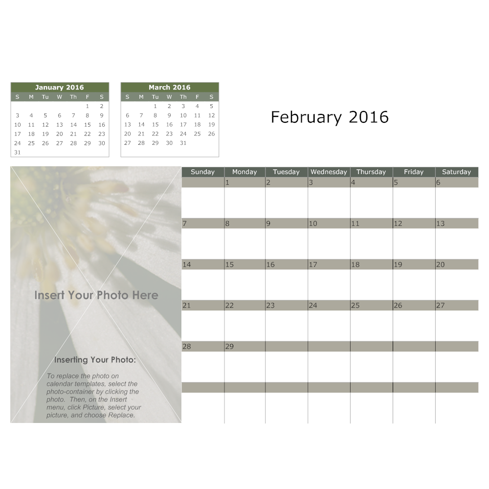 Example Image: Flower Monthly Calendar