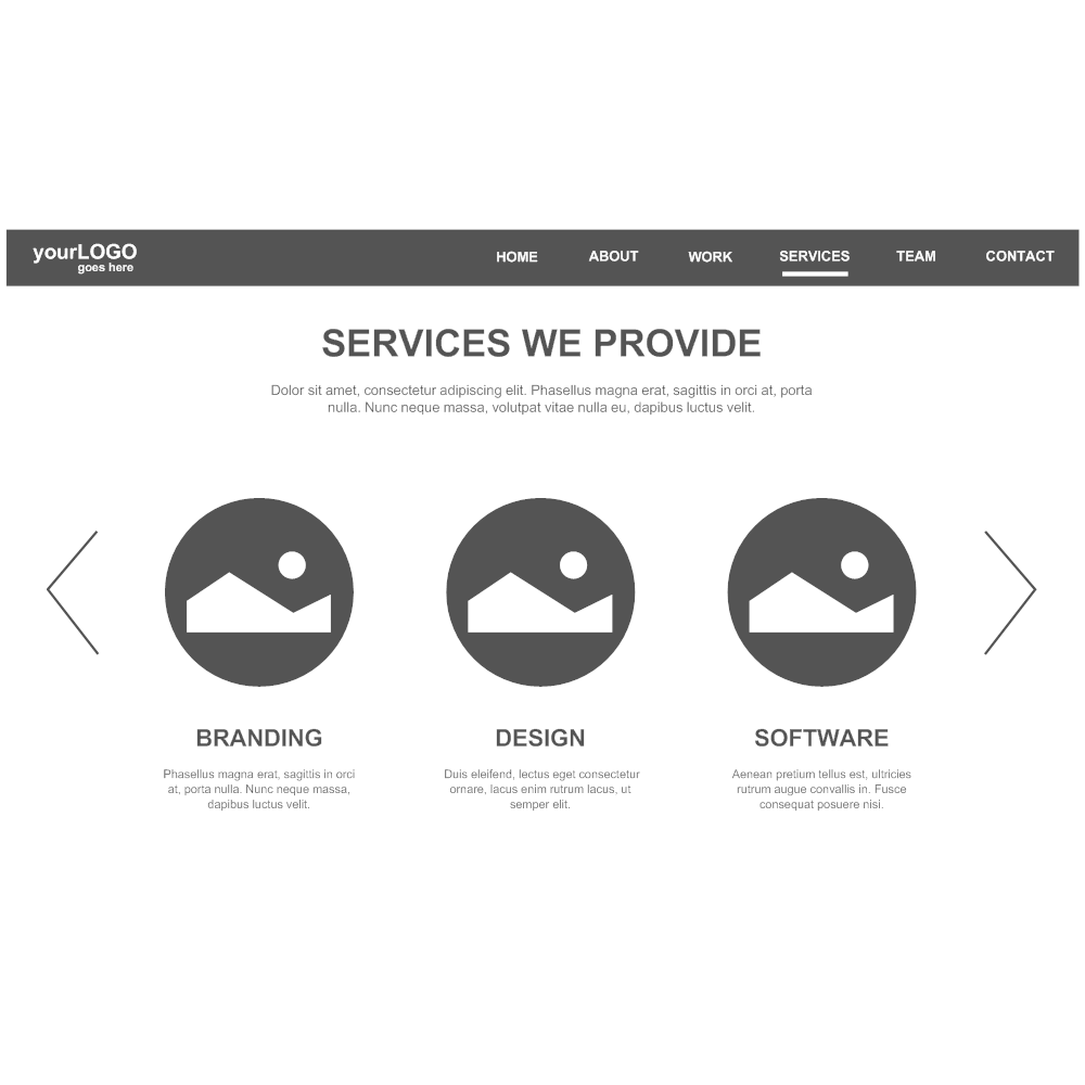 Example Image: Services Page Wireframe