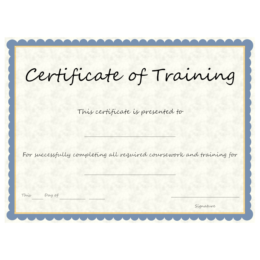 Example Image: Certificate of Training