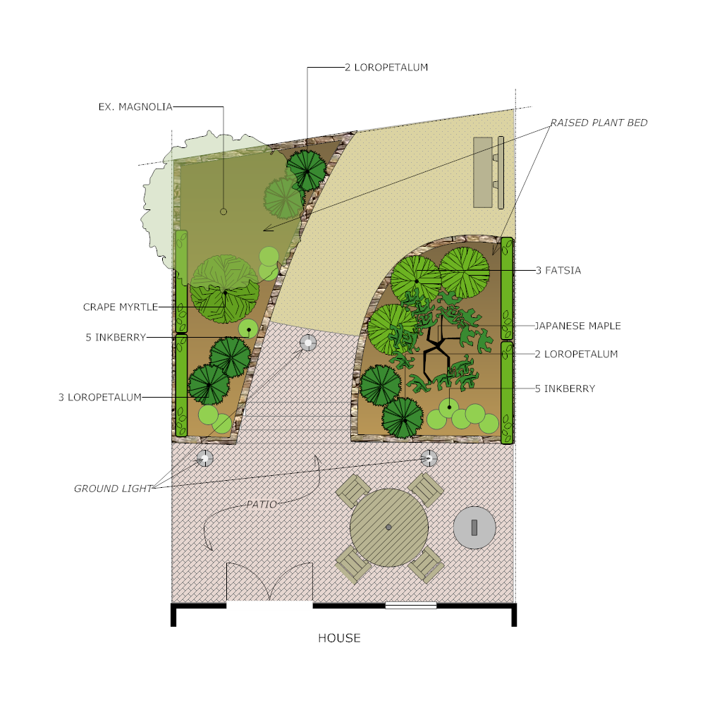 Backyard design plan for Example of landscape drawing