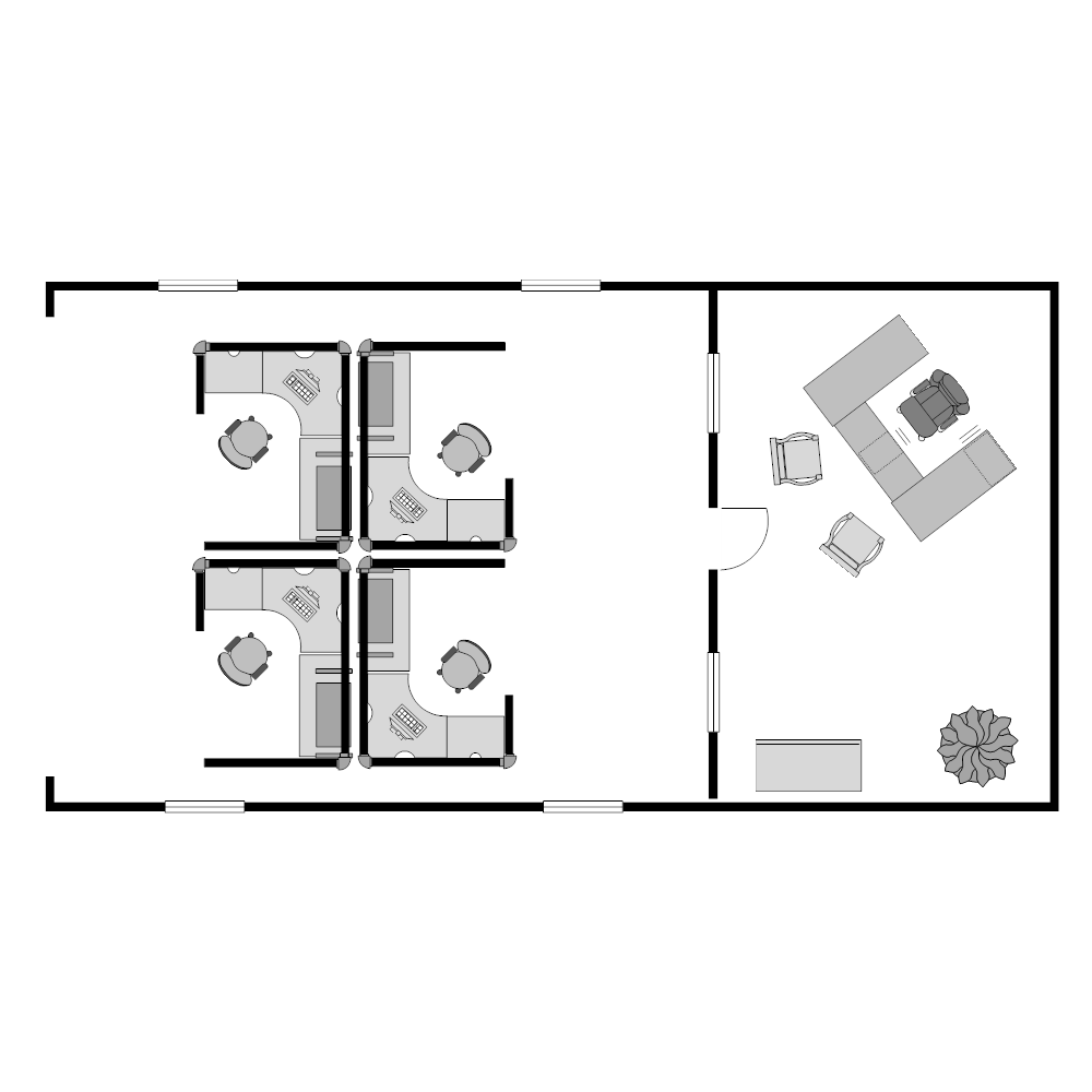 Small office cubicle floor plan example Edit floor plans online