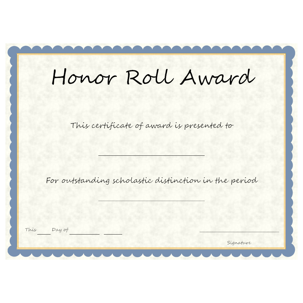Honor roll award for A b honor roll certificate template