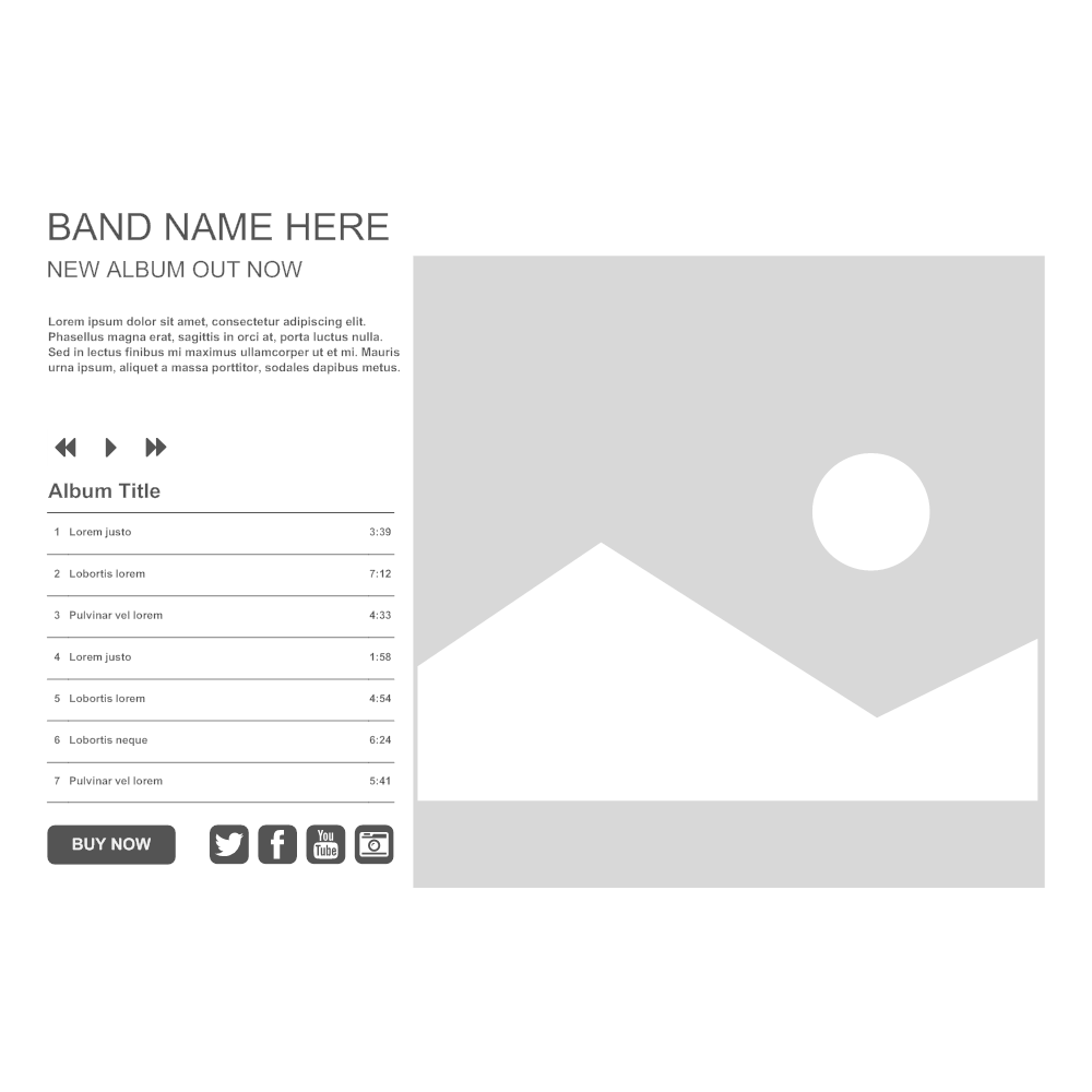Example Image: Band WebSite Wireframe