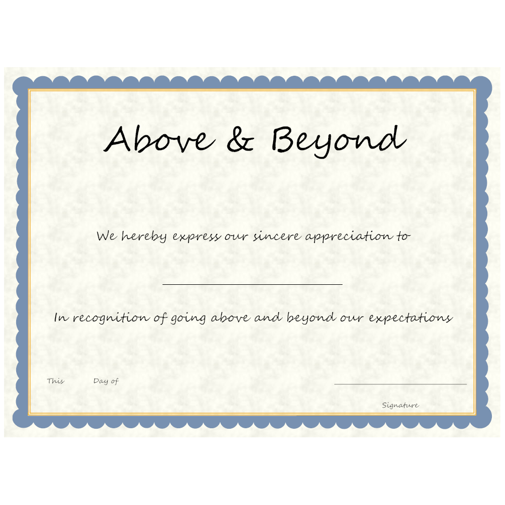Example Image: Above & Beyond Award