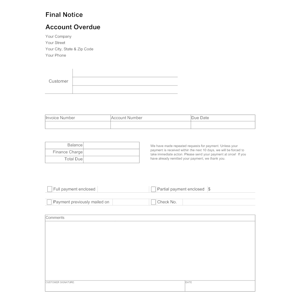 Example Image: Final Notice Form - Account Due