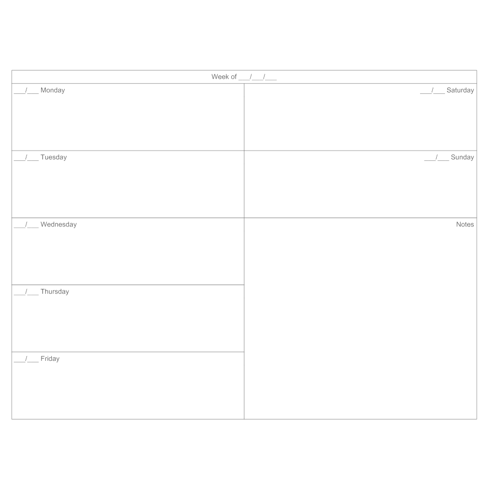 Example Image: 7-day Calendar Template