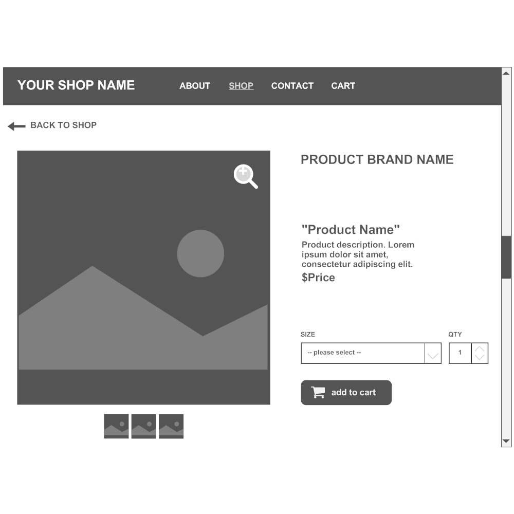 Example Image: Product Page Wireframe