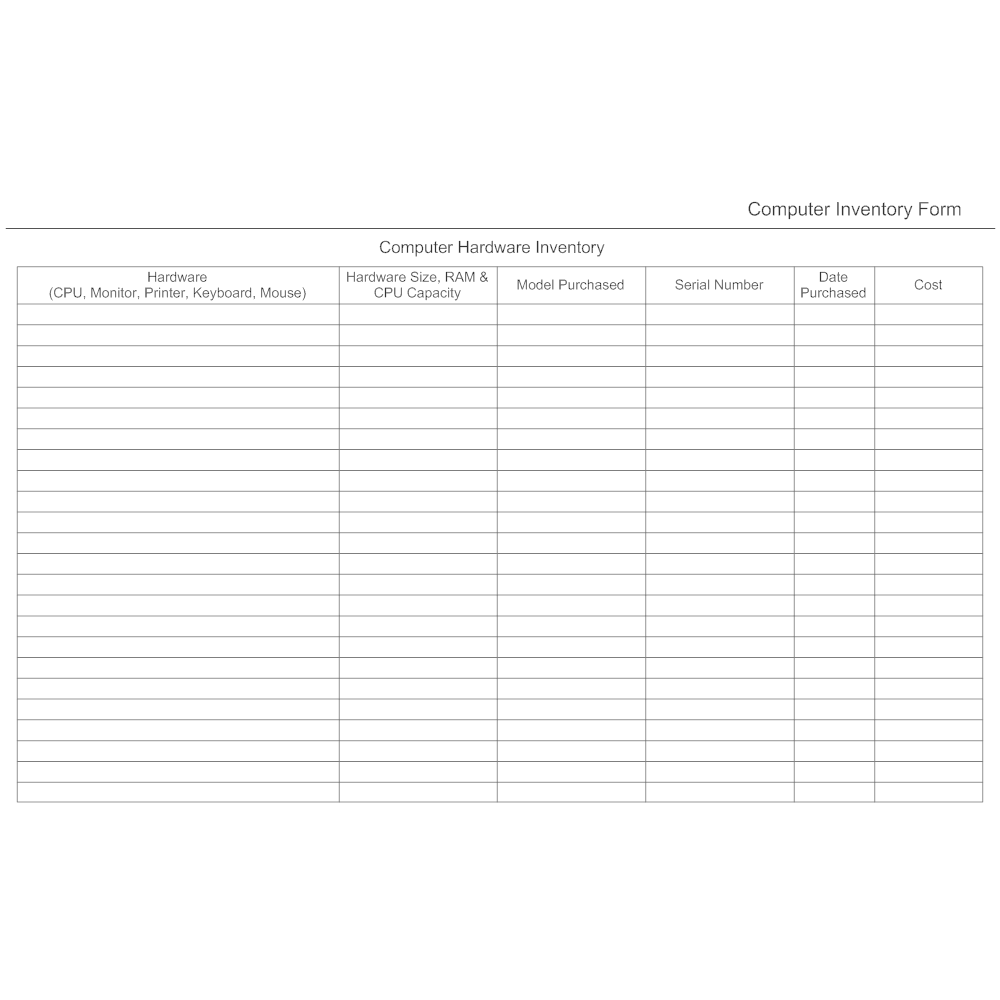 Computer hardware inventory form for Computer equipment inventory template