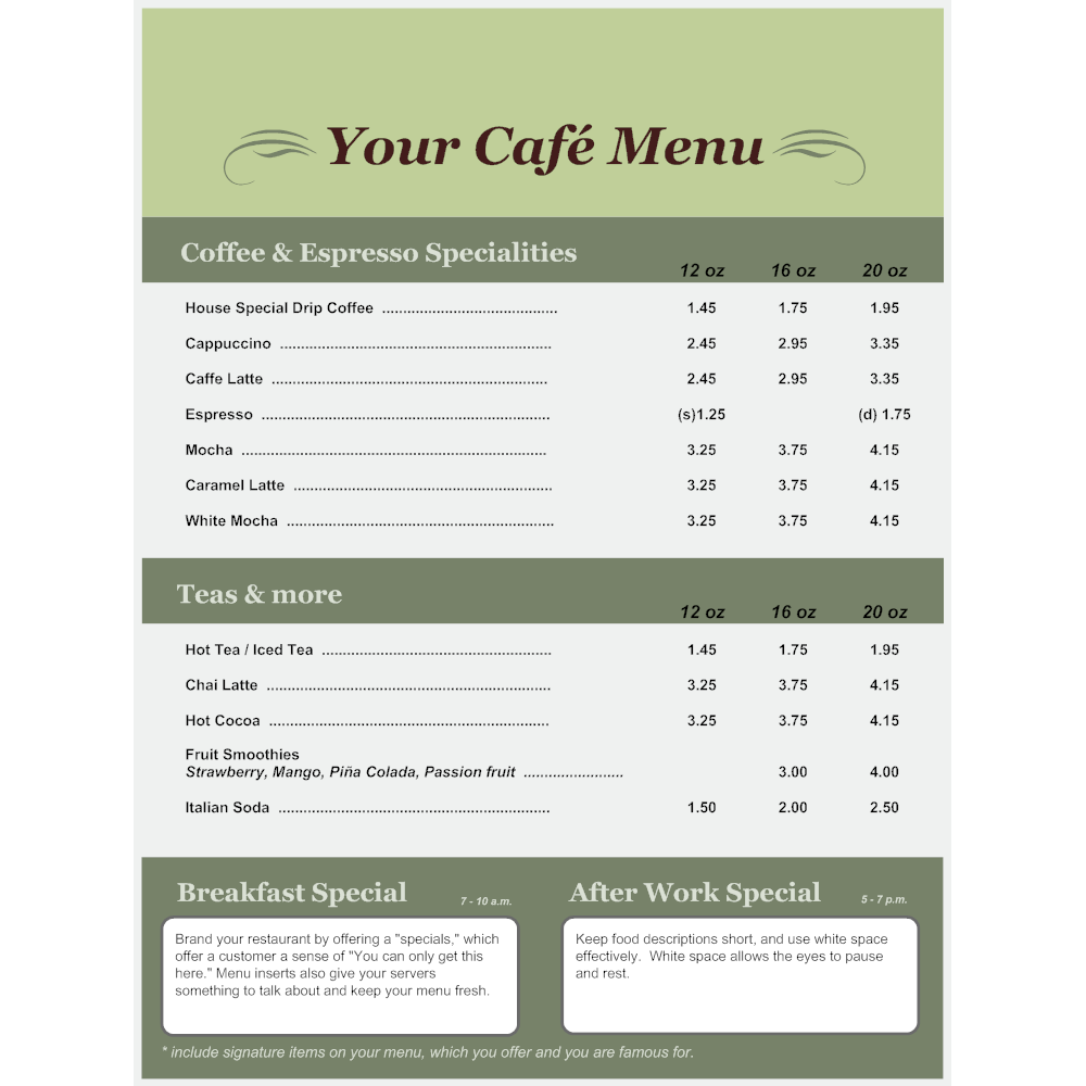 Example Image: Menu Template