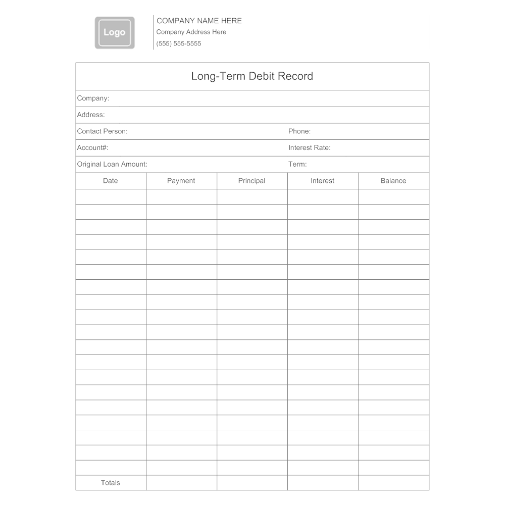 Example Image: Long-Term Debit Record Form