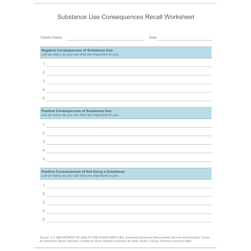 Example Image: Substance Use Consequences Recall Worksheet