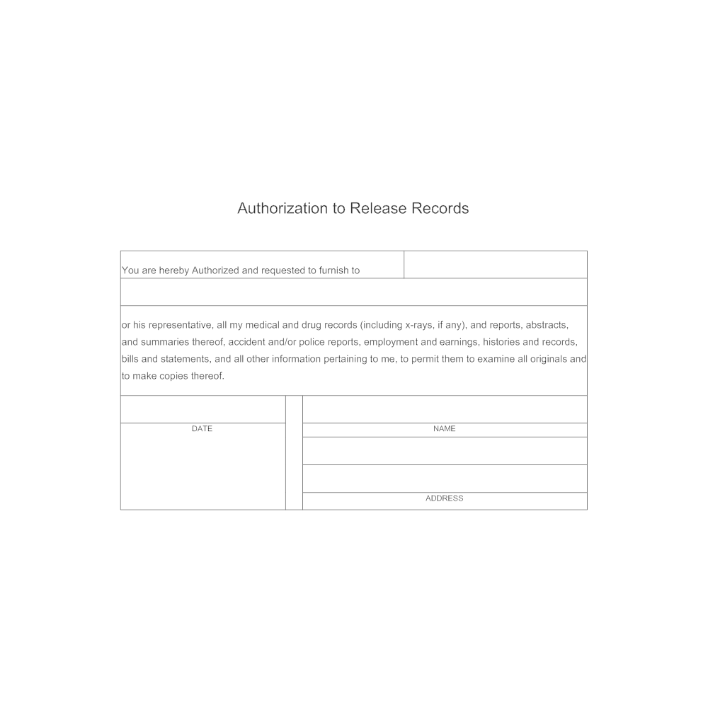 Authorization to Release Records – Medical Record Release Form Template