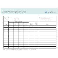 Glucose Monitoring Record Sheet