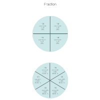 Math Diagram - One Fourth & One Sixth Fractions