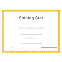 shining star certificate template